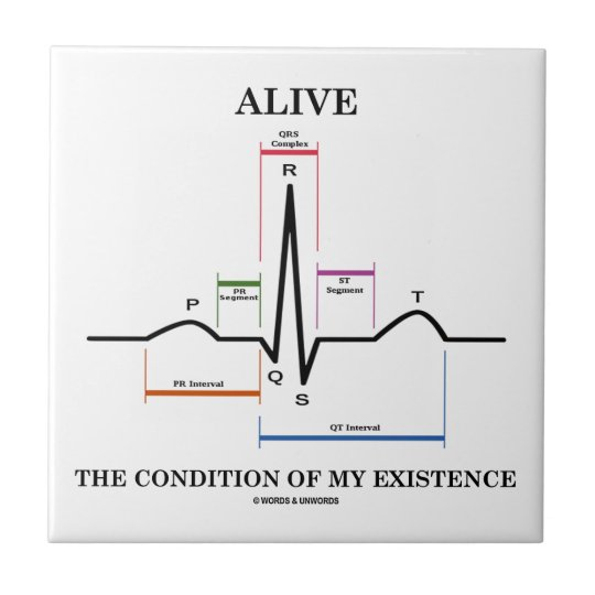 Alive The Condition Of My Existence (ECG/EKG) Ceramic Tile