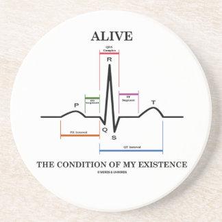 Alive The Condition Of My Existence (ECG/EKG) Beverage Coaster