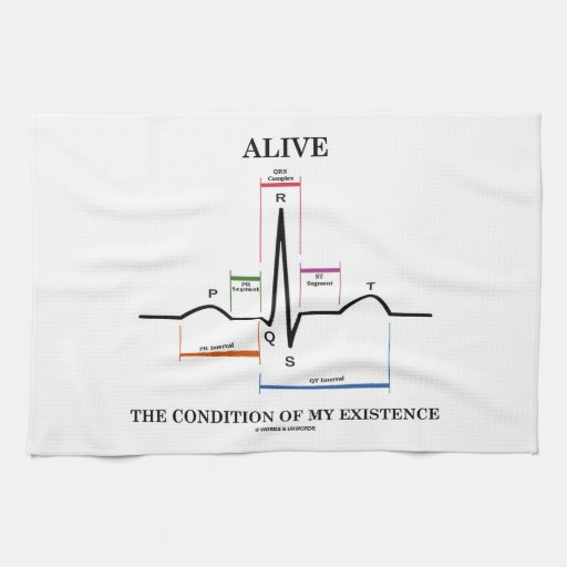 Alive The Condition Of My Existence (ECG/EKG) Kitchen Towels