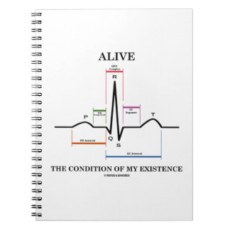 Alive The Condition Of My Existence (ECG/EKG) Spiral Note Book
