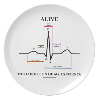 Alive The Condition Of My Existence (ECG/EKG) Dinner Plates