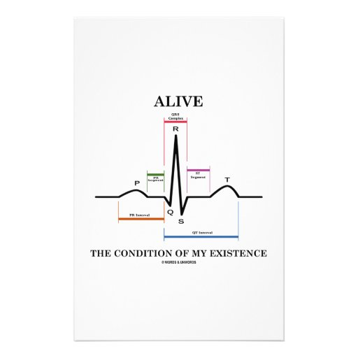 Alive The Condition Of My Existence (ECG/EKG) Stationery Design