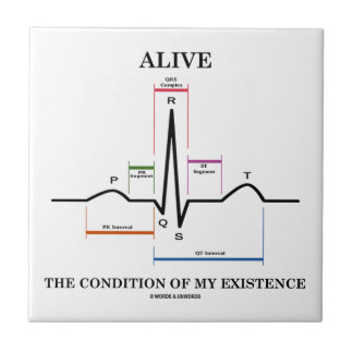 Alive The Condition Of My Existence (ECG/EKG) Ceramic Tiles