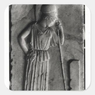 Alivio de Athena de luto, c.460 Pegatina Cuadrada