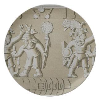 Alivio de Bas de guerreros aztecas antiguos, del S Platos