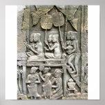 Alivio de la pared del templo de Bayon - honrar al Poster