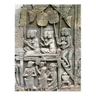 Alivio de la pared del templo de Bayon - honrar al Postal