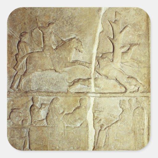 Alivio de Stela que representa una caza del jabalí Colcomanias Cuadradas