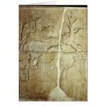 Alivio de Stela que representa una caza del jabalí Tarjeta De Felicitación