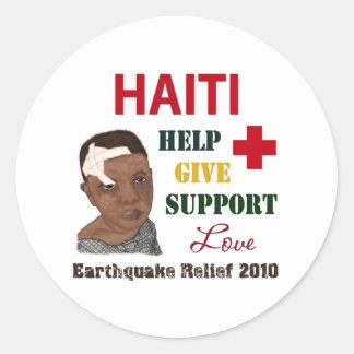 Alivio del terremoto de Haití 2010 pegatinas Pegatina Redonda