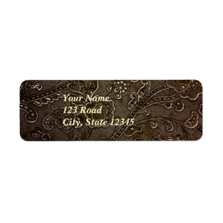 Alivio floral de bronce etiqueta de remitente