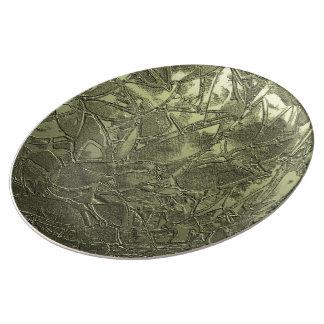 Alivio floral del Grunge de la placa de la porcela Plato De Cerámica