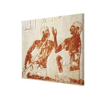 Alivio pintado que representa a un jugador de flau impresión de lienzo