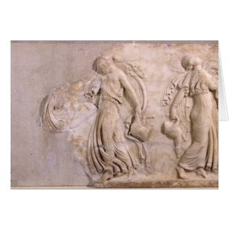 Alivio que representa a las ménades que bailan, de tarjeta de felicitación