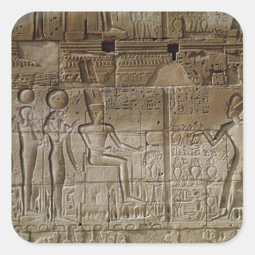 Alivio que representa a Seti I que hace un Pegatina Cuadrada