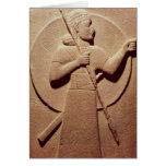 Alivio que representa a un guerrero hitita tarjeta