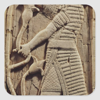 Alivio que representa a un guerrero pegatina cuadrada