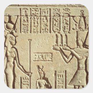 Alivio que representa a un pharaoh pegatina cuadrada