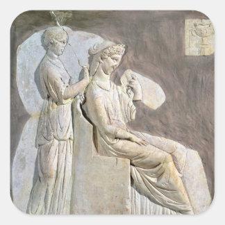 Alivio que representa a una mujer en ella toile pegatina cuadrada