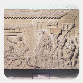 Alivio que representa Dionysus en el hogar de Pegatina Cuadrada