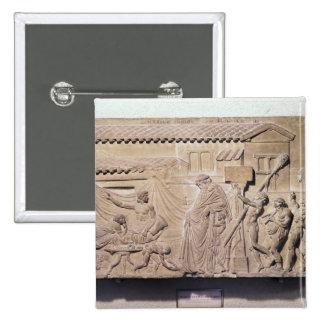 Alivio que representa Dionysus en el hogar de Pin Cuadrado