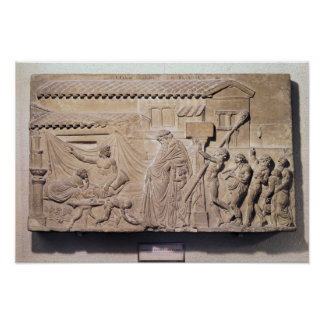 Alivio que representa Dionysus en el hogar de Póster