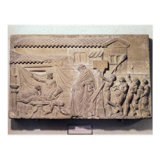 Alivio que representa Dionysus en el hogar de Tarjetas Postales