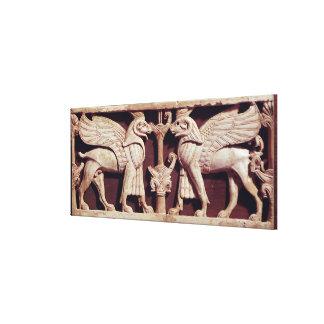Alivio que representa dos griffons, de Arslan Tash Impresión En Lona Estirada