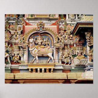 Alivio que representa el montar a caballo de Shiva Póster