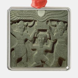 Alivio que representa Gilgamesh entre dos Adorno Navideño Cuadrado De Metal