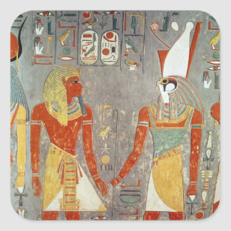 Alivio que representa Horemheb antes de Horus Pegatina Cuadrada