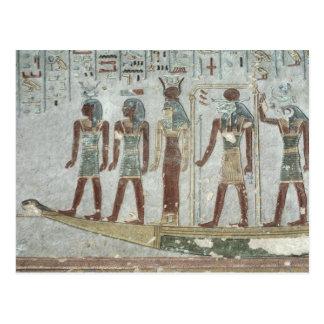 Alivio que representa Khnum en una barca funeraria Postal