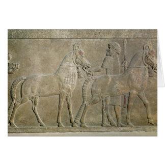 Alivio que representa los tributarios de Sargon II Tarjeta De Felicitación