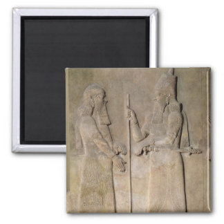 Alivio que representa Sargon II y a un vizier Imán Cuadrado