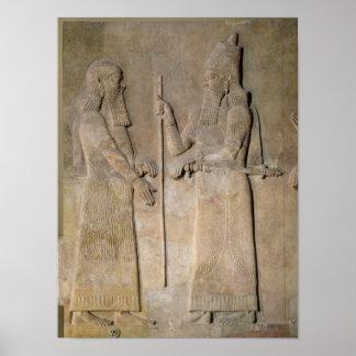 Alivio que representa Sargon II y a un vizier Póster