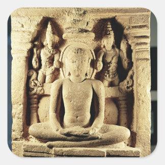 Alivio que representa Tirthankara Mahavira Calcomanía Cuadradase