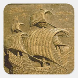 Alivio que representa un galleon veneciano pegatina cuadrada
