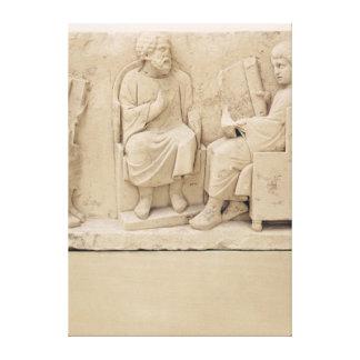 Alivio que representa una escena de la escuela, de impresión en lienzo