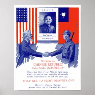 Alivio unido de China -- Segunda Guerra Mundial Póster