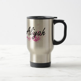 Aliyah Artistic Name Design with Flowers 15 Oz Stainless Steel Travel Mug