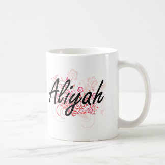Aliyah Artistic Name Design with Flowers Classic White Coffee Mug