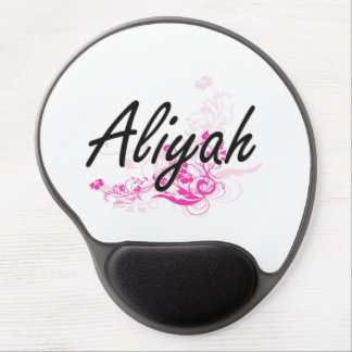 Aliyah Artistic Name Design with Flowers Gel Mouse Pad