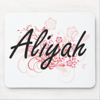 Aliyah Artistic Name Design with Flowers Mouse Pad