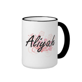 Aliyah Artistic Name Design with Flowers Ringer Coffee Mug