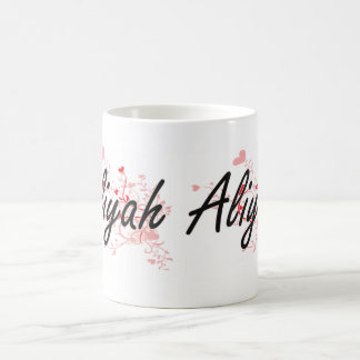 Aliyah Artistic Name Design with Hearts Classic White Coffee Mug