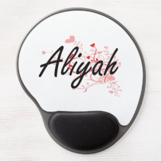 Aliyah Artistic Name Design with Hearts Gel Mouse Pad