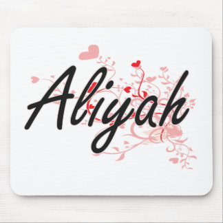 Aliyah Artistic Name Design with Hearts Mouse Pad