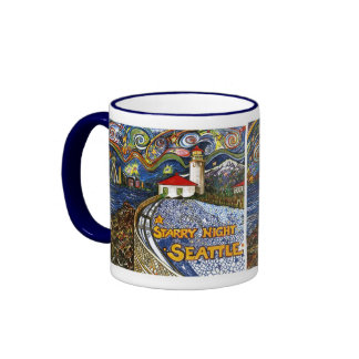 Alki Point Lighthouse Ringer Coffee Mug