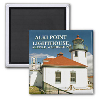 Alki Point Lighthouse, Seattle Washington 2 Inch Square Magnet