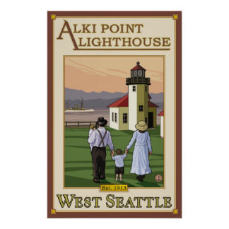Alki Point Lighthouse - West Seattle, WA Poster
